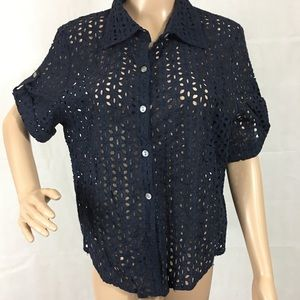 Ruby red petite cotton lace top. Like New.